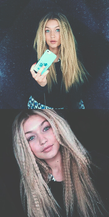 Melena Zig Zag Crimped hair Gigi Hadid